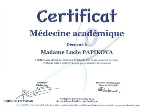 Diploma academic medicine Lucie Papikova