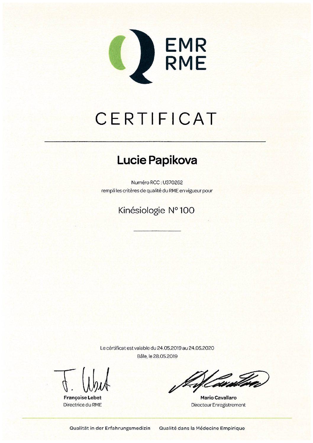 EMR RME certificat