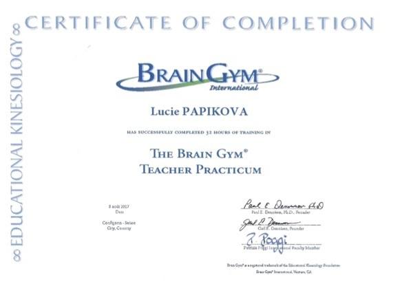 Brain gym teacher diploma Lucie Papikova