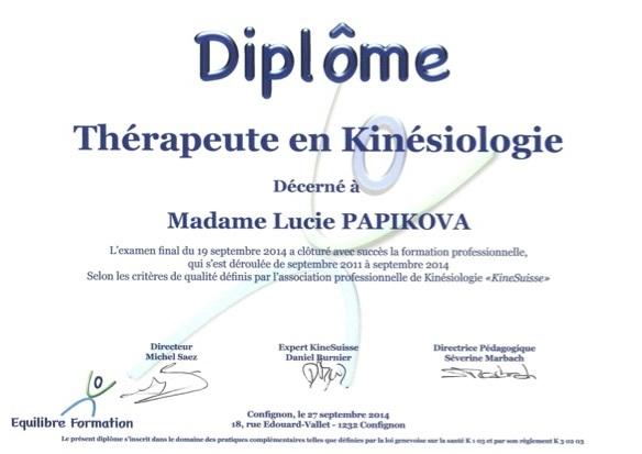 diplome de kinésiologie Lucie Papikova